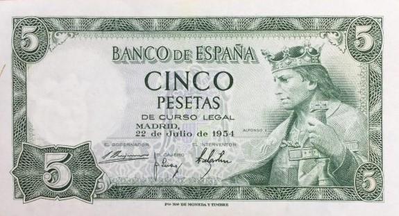 Antiguo billete de 5 pesetas de 1952 sin circular
